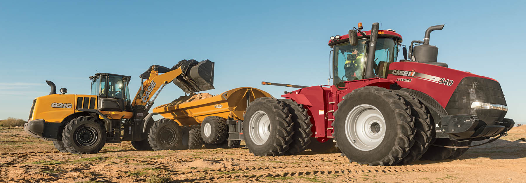Case wheel loader and Case IH tractor