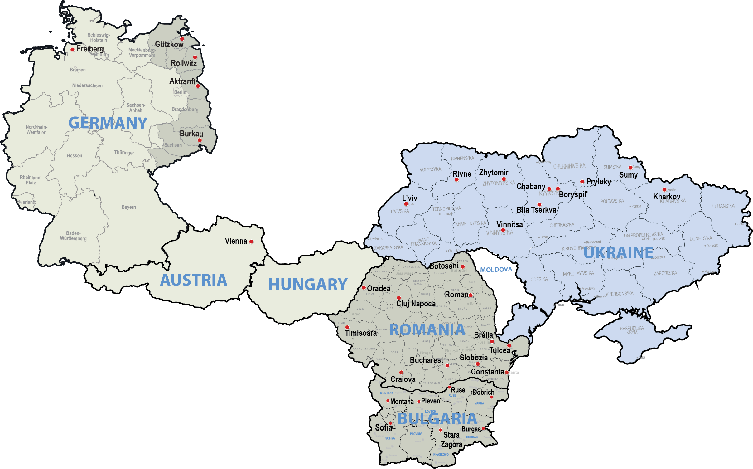 Map of Titan Machinery International Dealerships in Europe