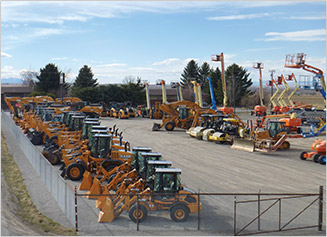 Case Construction, JLG, Bomag and more construction equipment lined up