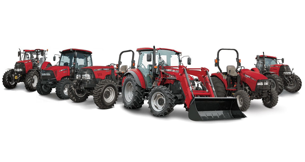 Case IH Magnum, Optum, Farmall, Maxxum and Pump tractors lined up