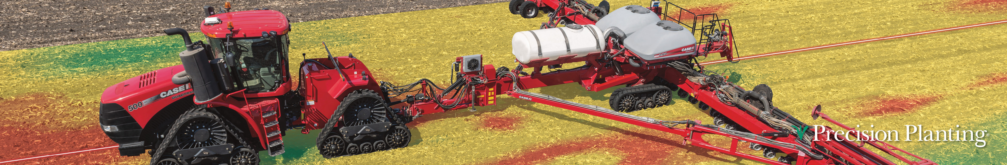 Case IH tractors with planters in field using Precision Planting technology